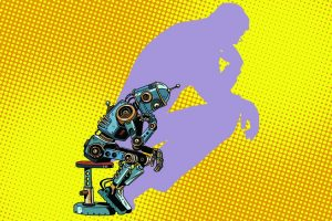 Robot thinker with the shadow of a man. Progress and humanity. Pop art retro vector illustration